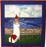 Umpqua River Lighthouse applique quilt pattern from Sentries of Light - Select image to enlarge