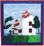 Yaquina Bay Lighthouse applique quilt pattern from Sentries of Light - Select image to enlarge